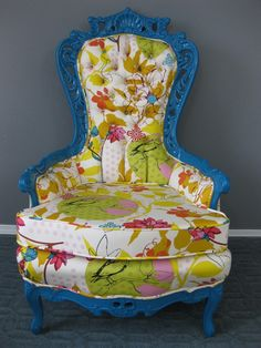 Oh my, gorgeous fabric treatment & I love the shape of the chair!......looks like something out of Alice in Wonderland.--I have a chair that I want to do this to. Gotta find some AIW or other cute fabric.
