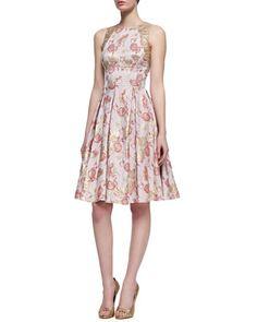 Floral-Print Sleeveless Golden Jacquard Dress, Rose Gold by Carmen Marc Valvo at Neiman Marcus.