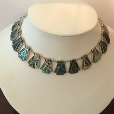 Green Mother of Pearl Abalone Garden Flower Necklace Earring Set Taxco Mexico