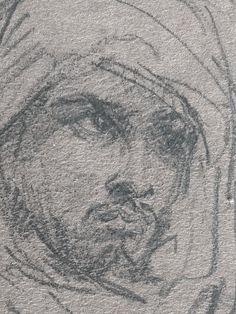 CHASSERIAU Théodore,1846 - Arabe debout, retenant un pli de son Burnous - drawing - Détail 29