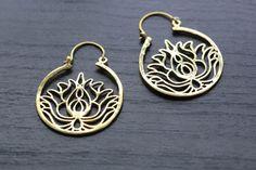 Gold Lotus Brass Hoop Earring