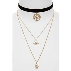 Women's Topshop Tree Of Life Layer Necklace ($22) ❤ liked on Polyvore featuring jewelry, necklaces, gold multi, charm chain necklace, velvet necklace, charm necklace, double layer necklace and boho charms