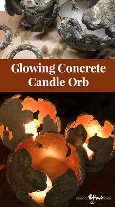 Glowing Concrete Candle Orb - Made By Barb - super simple centre piece Concrete Leaves, Concrete Bowl, Concrete Sculpture, Concrete Art, Concrete Garden, Concrete Planters, Concrete Design, Sculpture Art, Sculptures