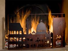 This is a firescreen that makes it appear as though London is burning in your fireplace. There's one of Rome too, after the jump. It's been a long time since fire ravaged London and Rome in 1666 and. Fireplace Screens, Fireplace Wall, Library Fireplace, Fireplace Cover, Burning City, The Great Fire, Screen Design, Home Wallpaper, Outdoor Fire