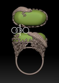 #Ring with #lizard in #3d.
