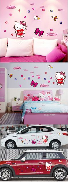 New Free Shipping ZY7131 Popular Cute Pink Hello Kitty car l Sticker Wall Mural Home Decor kids Room $5.99 Hello Kitty Car, Cute Home Decor, Cute Pink, Wall Stickers, Wall Murals, Toddler Bed, Kids Room, Popular, Free Shipping