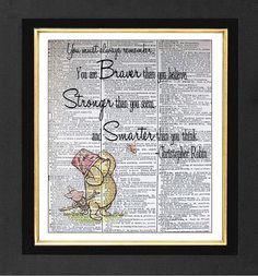 Always Remember -Winnie The Pooh -ORIGINAL ARTWORK Mixed Media art print on 8x10 Vintage Dictionary page, Dictionary art, Dictionary print on Etsy, $10.00