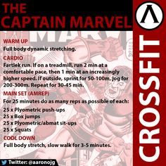 """The """"Captain Marvel"""". CrossFit AMREP WOD targeting your upper body, legs, and abs."""