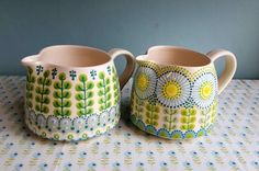Formal Hedge Jug and Daisy Jug earthenware and stoneware both approx. high x dia 2016 Pottery Painting Designs, Pottery Designs, Paint Designs, Ceramic Cafe, Ceramic Mugs, Ceramic Pottery, Earthenware, Stoneware, Cerámica Ideas