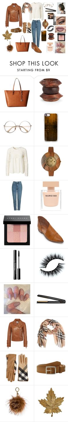 """""""Brown's outfit"""" by nikip19902011 on Polyvore featuring moda, MICHAEL Michael Kors, Simon Miller, Casetify, Olivia Pratt, Topshop, Narciso Rodriguez, Bobbi Brown Cosmetics, Free People e GHD"""