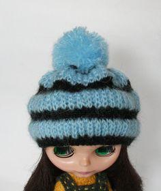 Blythe hat Blue knitted hat for blythe doll от VolnaDollsClother