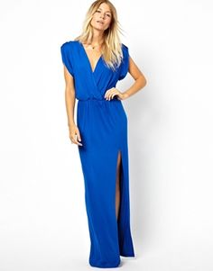 54.00 Image 1 ofLove Wrap Front Maxi Dress With Thigh Split