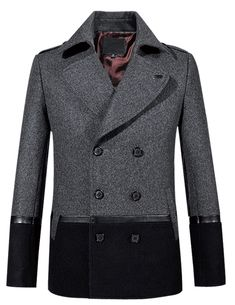 56d2432c1fc Shop exclusive Amazing New Grey Black Wool Pea Coat For Men and men apparel  in different styles. Enjoy our new and discount Amazing New Grey Black Wool  Pea ...