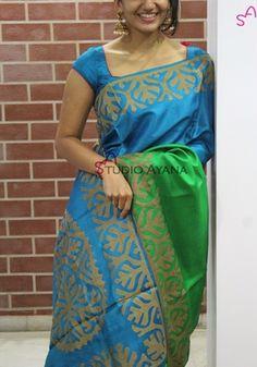 Misty Cloud Classic Indian Saris Click VISIT link above for more info Simple Sarees, Trendy Sarees, Stylish Sarees, Silk Saree Blouse Designs, Blouse Neck Designs, Indian Silk Sarees, Bastilla, Designer Blouse Patterns, Elegant Saree