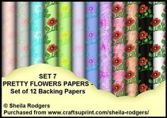 Set 7 Pretty Flowers Set of 12 Backing Papers on Craftsuprint - Add To Basket!