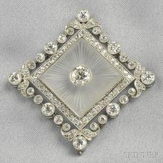 Art Deco Platinum, Rock Crystal, and Diamond Pendant, Thomas Kirkpatrick & Co.    Estimate $ 5,000-7,000