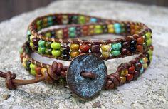 Leather Wrap Bracelet Beaded wrap bracelet by WrapBraceletsbyLynn