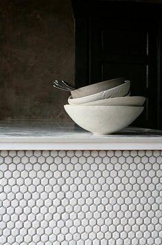 Janaki Larsen's ceramics Beadboard Backsplash, Herringbone Backsplash, Subway Tile Backsplash, Kitchen Backsplash, Hexagon Backsplash, Travertine Backsplash, Backsplash Ideas, Marble Countertops, Kitchen Island