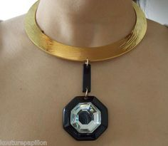 Vintage Miriam Haskell Haute Couture Gilded Modern Geometric Necklace   eBay