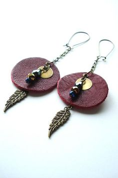 Rustic Leather Earrings TALISMANS Feather Dangle by AJBcreations, $24.00