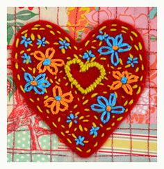 Embroidered folkloric felt heart (great for Valentine's or to adorn gift wrap)