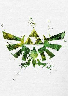 legend of zelda link tri force triforce nintendo classic video game gaming canvas paint logo symbol emblem yellow gold green Gaming