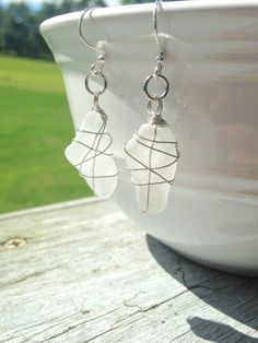 Wire Wrapped Frosted Clear Beach Glass Earrings by musicgeek90