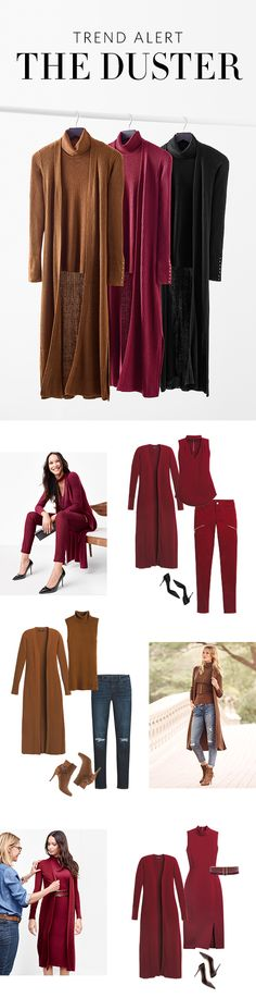 Date Night Pretty: Go for romantic chic with this monochromatic look in our coveted Rosso color paired with sky-high heels.Weekend Ready: Our Whiskey hue instantly adds a luxe vibe to any outfit. The python-embossed pendant necklace and ankle boots add an urban edge. Chic & Polished: Incorporate the duster into the workweek. Wear with a shape-making sheath for a wardrobe power move. | White House Black Market