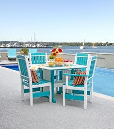 Amish Five Piece Garden Poly Dining Set Colorful, comfortable and durable. Poly dining set made from recycled plastic. Low maintenance outdoor furniture you can feel great about.