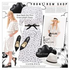 """Cloudy Afternoon"" by houseofhauteness ❤ liked on Polyvore featuring Front Row Shop, rag & bone, CHARLES & KEITH, Clutch, dress, blackandwhite, offshoulder and frontrowshop"