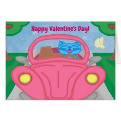 Milo Drives A Valentine's Car Greeting Card - Saint Valentine's Day gift idea couple love girlfriend boyfriend design