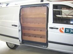 Plywood Shelving unit made specifically to fit in the side door of the van. Images for illustration purposes. Van Storage, Camper Storage, Trailer Storage, Diy Camper, Camper Ideas, Camper Van, Mercedes Vito Camper, Mercedes Sprinter Camper, Van Organization