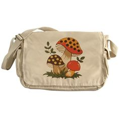 Vintage Kitchen A vintage look can be achieved with this retro design. - About Messenger Bag Canvas Messenger Bag heavyweight cotton canvas W x 11 H x 4 D Adjustable shoulder strap Enzyme-washed for a cool retro look Antique brass slider Aesthetic Fashion, Aesthetic Clothes, Aesthetic Bags, Aesthetic Shop, Mushroom Decor, Mushroom Art, Doja Cat, Unisex, Look Cool