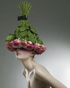 ❀ Flower Maiden Fantasy ❀ beautiful art fashion photography of women and flowers - Manequin, Foto Fashion, Fashion Art, Crazy Hats, Flower Hats, Flower Crowns, Arte Floral, Floral Fashion, Botanical Fashion