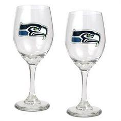 Seattle Seahawks Set of 2 Wine Glasses