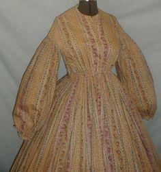 Fetching 1860's Tan Mauve Floral Print Cotton Dress | eBay