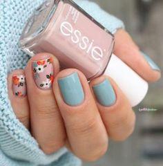 Essie Go go geisha & Udon know me // It's oh so sweet, shhh, shhh . – Otaku girl ❤🌸 Kirizaki neko Essie Go go geisha & Udon know me // It's oh so sweet, shhh, shhh . essie fall 2016 go go geisha udon know me pink and blue flower floral nail art Spring Nail Art, Nail Designs Spring, Nail Art Designs, Nails Design, Spring Design, Nail Art Flowers Designs, Nail Designs Floral, Nails With Flower Design, Fall Nail Art Autumn