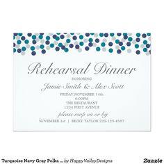 Turquoise Navy Gray Polka Dot Rehearsal Dinner