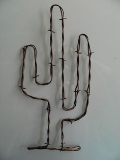 "Rusty Barbed Wire Cactus Art~ 11"" Tall ~ Cowboy Rustic South Western Wall Decor 