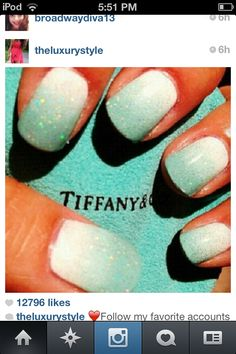 Tiffany Blue nail design!!!! Must ask my stylist to do!