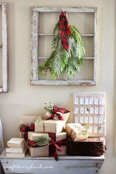 evergreen swag from an old window.  So simple and beautiful or the holidays.