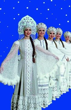 Russian costume. Kokoshnik. Russian dance.