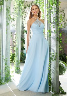High Halter Bridesmaids Dress Featuring an Embroidered Bodice and Ruched  Waistline. A Sexy, Keyhole Back and Flowy Chiffon Skirt Complete the Look. b69d64e7bc