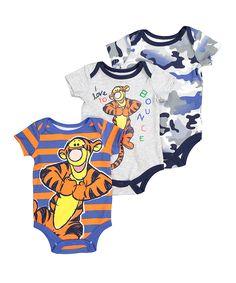 Gray Pooh Bear Tigger Bodysuit Set - Infant
