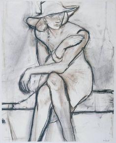 Richard Diebenkorn, Mujer sentada con sombrero de ala ancha, 1965. Carboncillo sobre papel, Phillip Collection, Washington