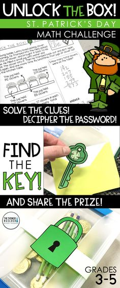 Unlock the Box! is an engaging math challenge for St. Patrick's Day, focusing on addition and subtraction with regrouping. Leprechaun Lenny has locked a prize inside a box, and students must solve his clues and find the key to unlock the box and earn the prize! Grades 3-5 ($)