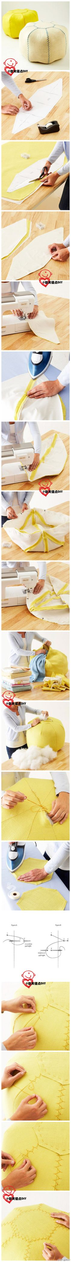 How to: pouf! I have a serious jonesing for a pouf! Diy Projects To Try, Crafts To Do, Craft Projects, Sewing Hacks, Sewing Tutorials, Sewing Patterns, Fabric Crafts, Sewing Crafts, Sewing Projects