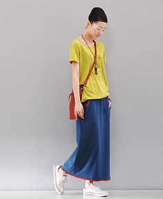 Indian Blue Maxi Skirts with Contrast Trim
