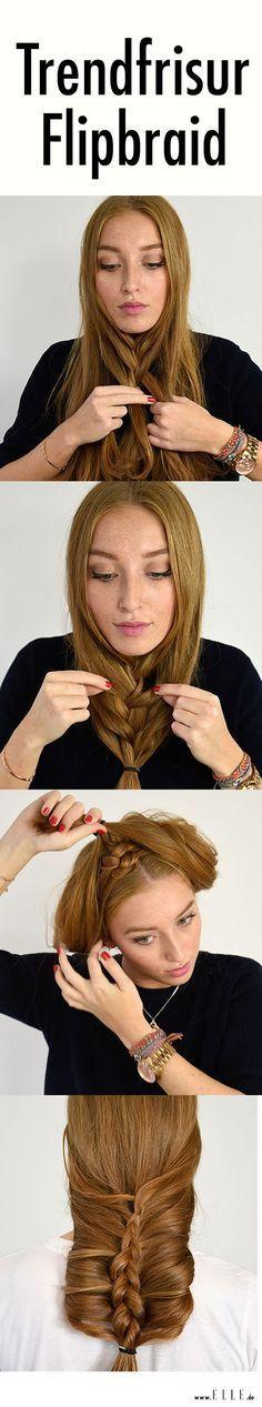 Dieser Hairstyle wird derzeit im Internet mega gehyped: Wir erklären, wie du den Flip Braid ganz einfach in 5 Schritten nachmachen kannst ? auf http://ELLE.de! (Step Fitness)
