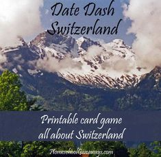 FREE Date Dash Switzerland – Swiss History Card Game. Test your knowledge of Swiss history with this free printable card game. All thirty questions include two levels of difficulty, so it's perfect for middle school or high school. Or, combine it with other printable games in this series and test your knowledge of multiple countries at once!  Download your copy today, and have fun learning Swiss history!
